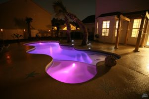 Freeform Pool with LED Lighting and Handrail