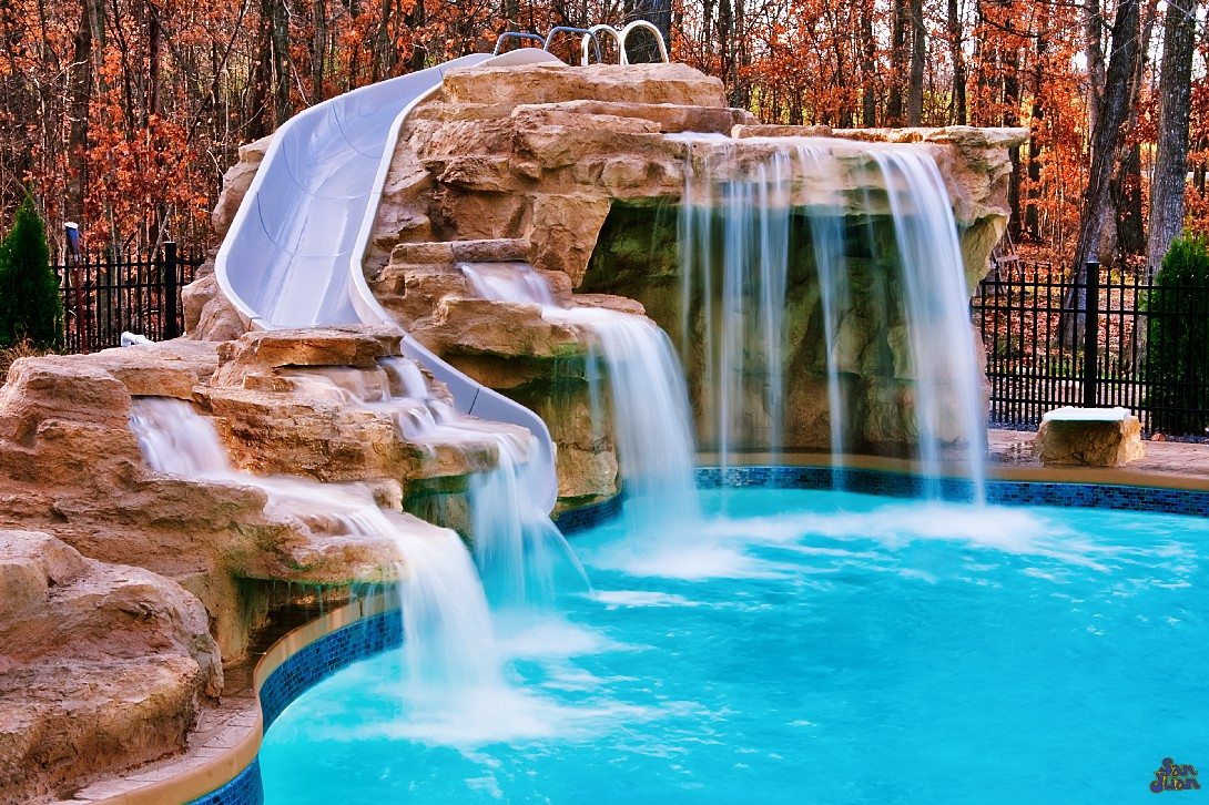 inground fiberglass pools with slide and water features
