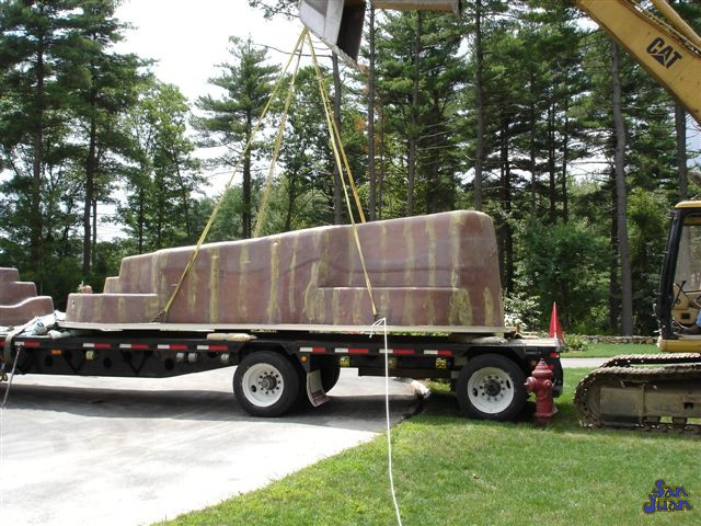 bayside fiberglass pool being off loaded from the truck