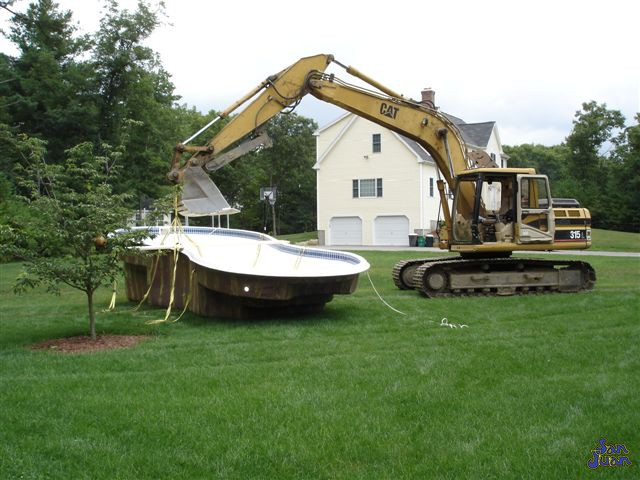 bayside fiberglass pool being prepped before installation
