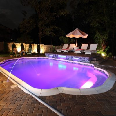 """In Vegas, anything can happen! The same goes for our beautiful Vegas fiberglass pool model! This swimming pool offers a company design. Outfitted with a maximum depth of 5'1"""" and a total gallon size of 11,300 gallons - it's design for hours of play with minimum maintenance costs."""