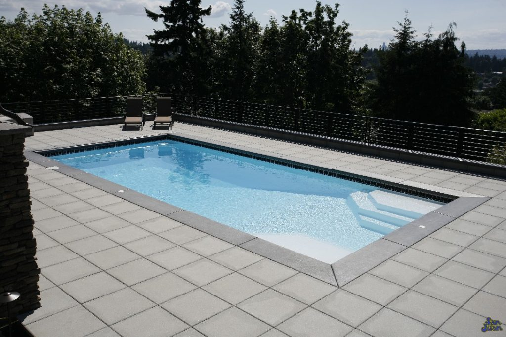 "The Niagara pool model sports a rectangular shape with a small shallow end a huge deep end! This pool is designed for a more advanced swimmer and includes a depth down to 7' 10""! Get out those diving rings!"