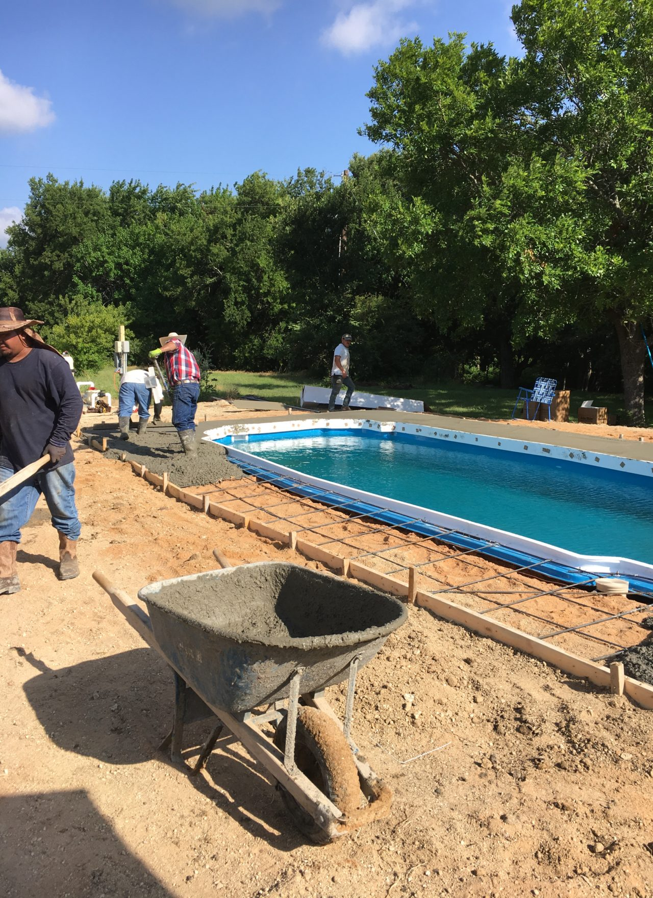 "Pouring a concrete pool deck is tough work. It's also messy work. That's why we always hire a ""start up"" professional who arrives a day or two after our concrete deck is poured. Our startup tech ensures that your fiberglass pool is properly cleaned and free of any debris that might linger after our construction process. They essentially ""clean it up"" so that you and your family are ready to swim the day after our first chemical treatment!"