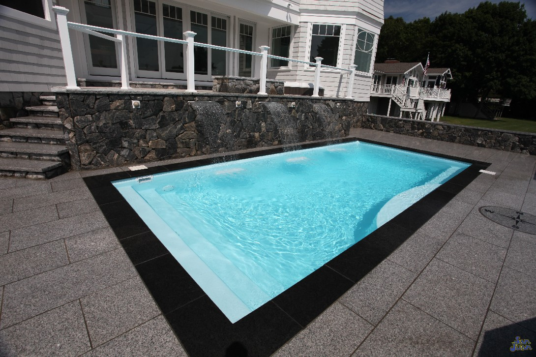 The Wylela is a beautiful fiberglass swimming pool! It's rectangular shape makes it an exceptional product for lap swimming & water aerobics. Secondly, it's modest length of 25' allows it to fit into nearly any sized backyard!