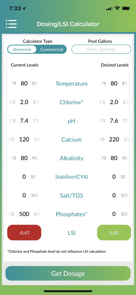 "Here you can see the LSI Index in real life. The left column shows the ""Actual Results"" of a water test we recently completed in our store. The right column tells us ""Potential Results"" should we take steps to balance our pool water. This app makes things pretty simplistic. As you can see, by adjusting our PH by +.2 we bring our water back to a balanced state. Hence, we moved our water from a Corrosive environment to a Balanced environment."